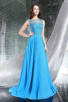 Free Shipping 2014 Silk Chiffon Embroidery Beading Prom Formal Dress Evening Party Gown Custom Made Size
