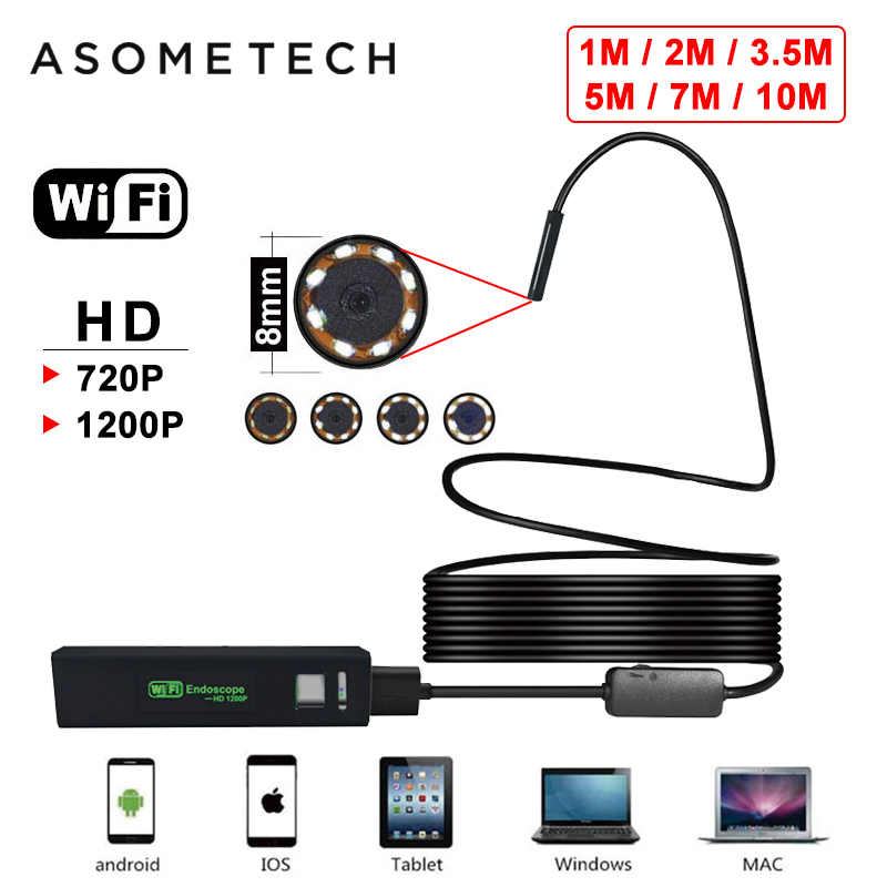 2019 WIFI Endoscope Borescope For Android IOS Iphone Endoscope Mini Waterproof Camera 8LED 8MM Hard Cable Wireless USB Endoscope