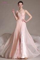 Blush Evening Dresses 2018 A Line 0ne Shoulder Chiffon Lace Beaded Slit Plus Size Long Evening