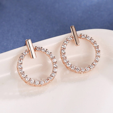 HOMOD Creative Jewelry High-Grade Elegant Crystal Earrings Round Gold and Silver Wedding Party for Women Gifts
