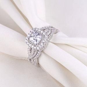Image 3 - Newshe 2 pçs 925 prata esterlina anel de noivado casamento banda para as mulheres princesa corte branco aaa zircônia cúbica clássico jóias