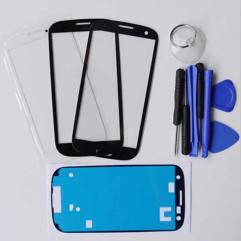 Track Number New Front Glass For Samsung Galaxy GT i9300 S3 III Replacement Outer Glass Panel With Tool+Adhesive