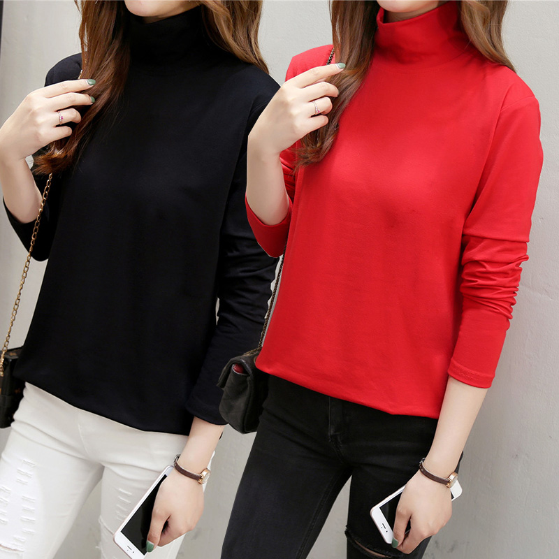 Oversized Autumn Women's t-shirt 2018 Korean New Turtleneck Solid Tops Plus Size 4XL 5XL Casual Female Long sleeve Cotton Shirt