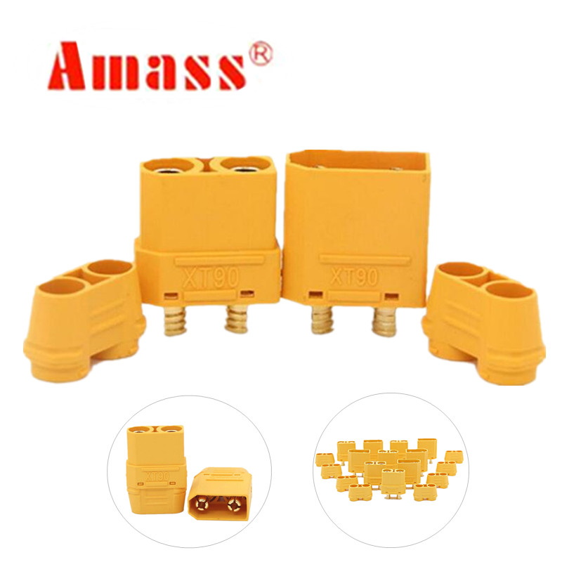 10 pairs AMASS XT90H with protective insulating end cap connectors male female XT90 for RC hobby model lipo battery 40%off(China)