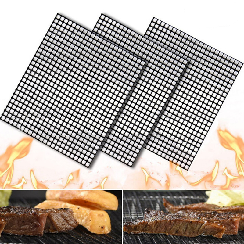 3pcs/set BBQ Non-stick Teflon Grilling Mesh Mat Grill Mat Reusable Kitchen Cooking Mesh Grill Mat Barbecue Liner BBQ Accessorie