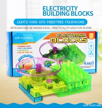Children Circuit Model DIY Toys Energy Building Blocks Student Circuit Electronic block Four In One Kids educational STEAM Toys