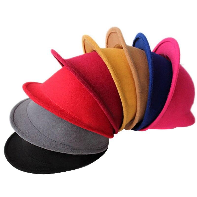 New Lovely Kids Boys Girls Cute Cat Ear Fedora Solid Wool Felt Hat