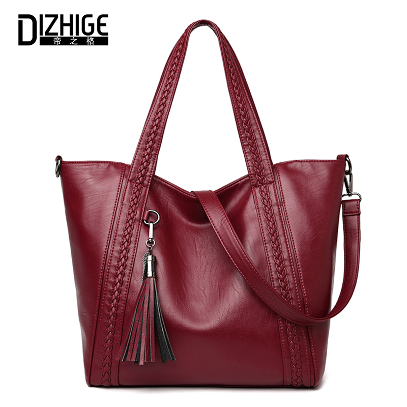 DIZHIGE Women Shoulder Bags Knitting Tassel Handbag High Quality PU Leather Handbags Vintage Ladies Casual Tote Crossbody Bag vintage punk tassel shoulder bags pu leather handbags women messenger bag casual tote bag small crossbody bags