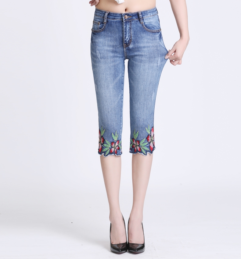 KSTUN Women Fashion 2018  Summer Jeans High waist Pants Women Capri stretch pencil Stretch Skinny pantalon femme mujer plus size 16
