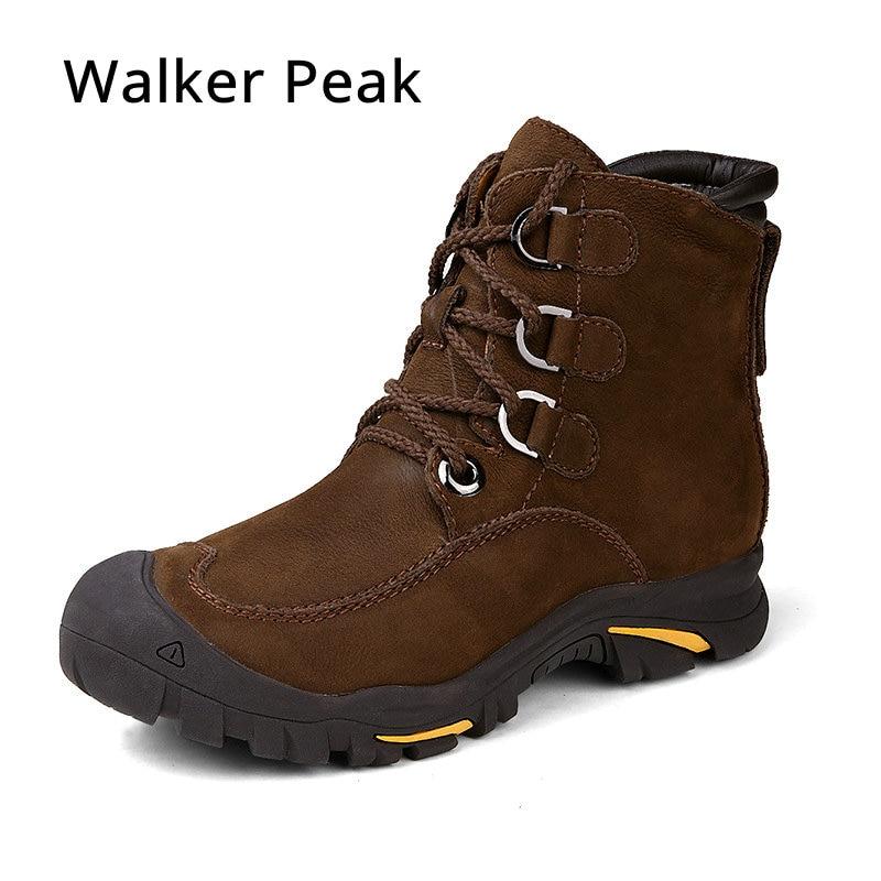 Full Grain Leather Men Winter Boots Big Size 38~49 Handmade Warm Mens Winter Shoes Brand Walker Peak