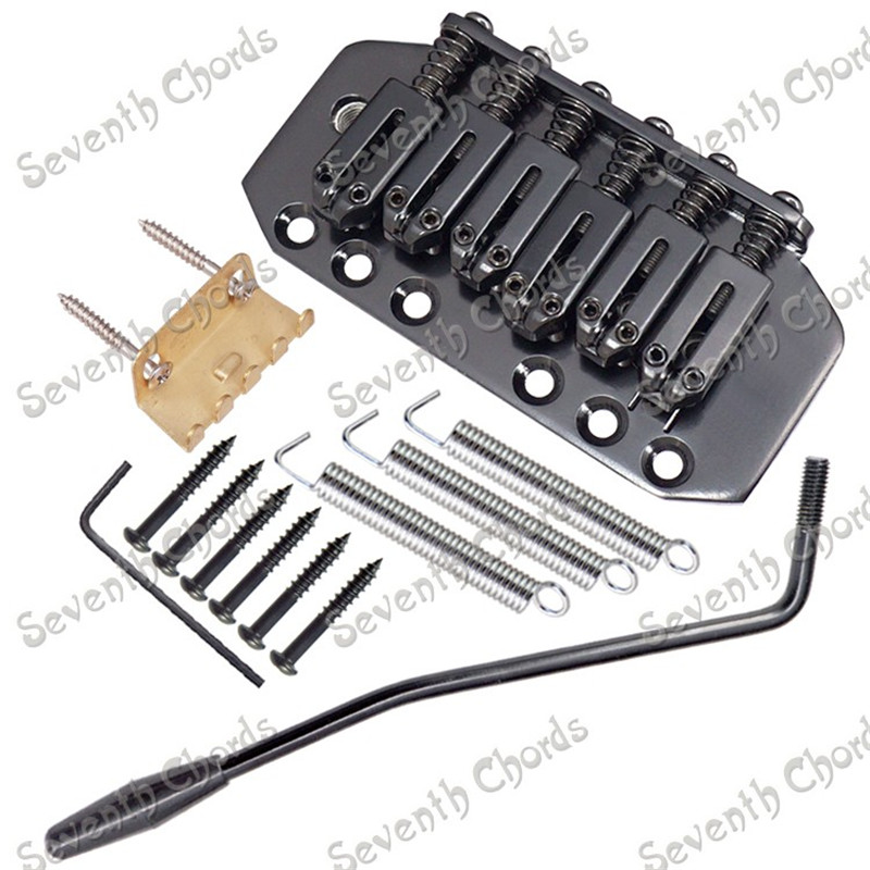 A Set High Quality 6 String Saddle Electric Guitar Tremolo Bridge System With Whammy Bar  Black a set chrome vintage shape saddle bridge for 5 string electric bass guitar top load or strings through body
