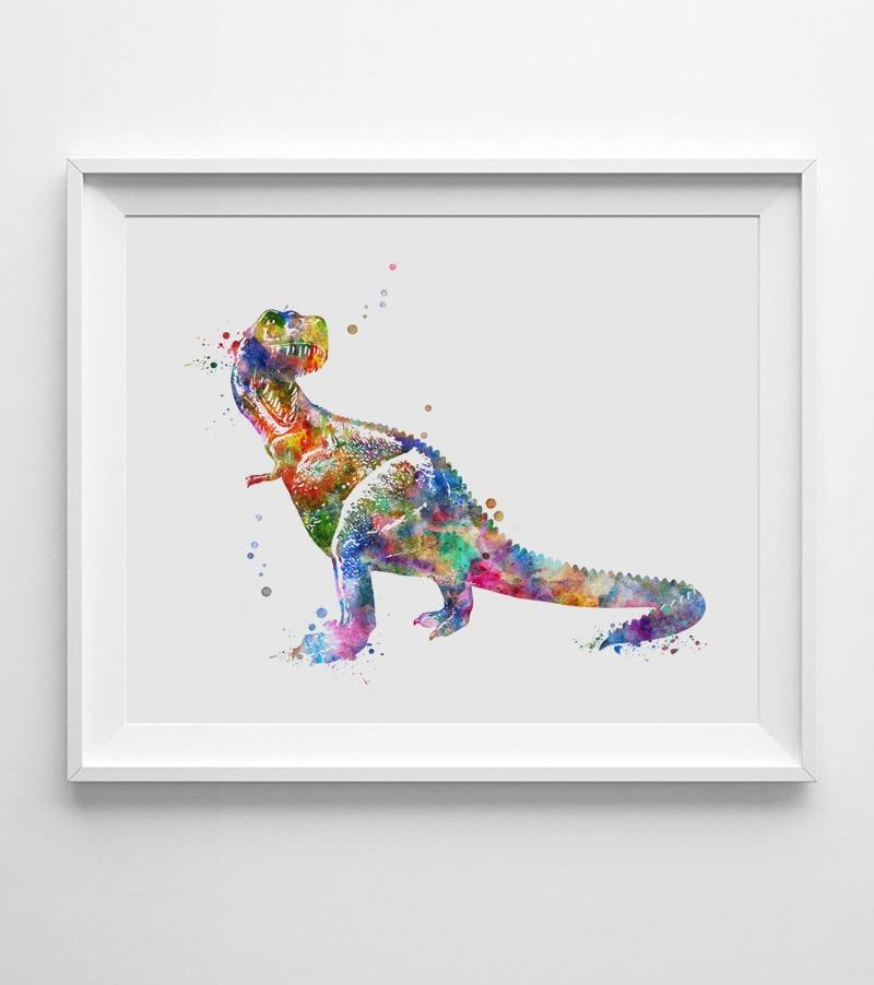 Dinosaur suluboya sənəti afişası Dinosaur Divar İncəsənəti - Ev dekoru - Fotoqrafiya 3
