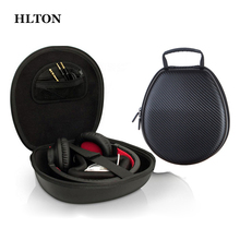 HLTON New Portable EVA Fiber Zipper Headphone Case Hard Storage Carrying Bag Travel Earbuds Storage Box For Universal Headphone