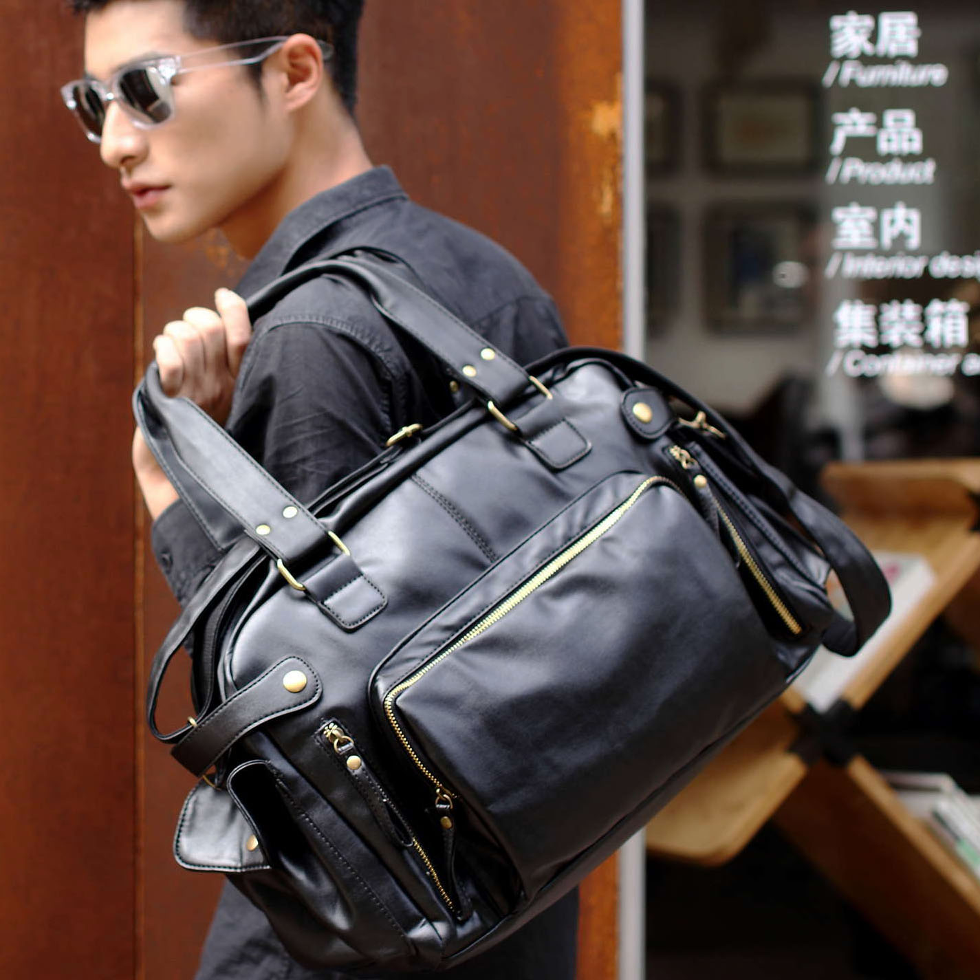 New male bags PU handbag messenger bag casual man commercial travel bag for business/daily/trip use black brown,free shipping new shoulder casual bag messenger bag canvas man travel handbag for male trip daily use grey khaki black color fashion