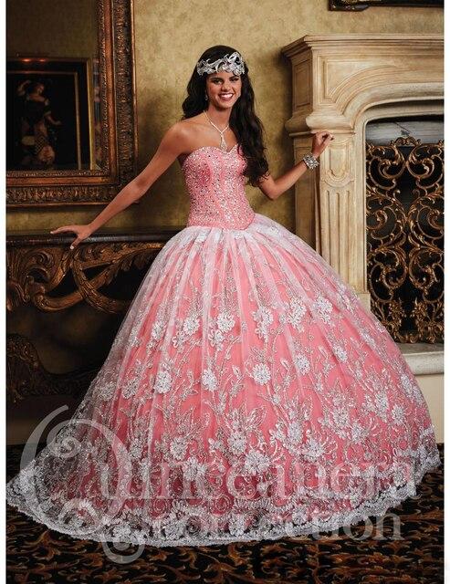 0acf593621a Elegant Appliques Beaded Tulle Light Pink Quinceanera Dresses Debutante Gown  Vestidos De Quinceaneras 2016 Dress For 15 Years