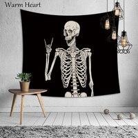 Скелет Череп волк письмо женщина мужчина печати гобелен настенный Декор полиэстер настенная ткань тонкое одеяло для дома спальни офиса