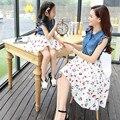 2016 новый стиль соответствия мать дочь платья семья смотреть девочки одежда лоскутные летние платья джинсы дети вишня печати