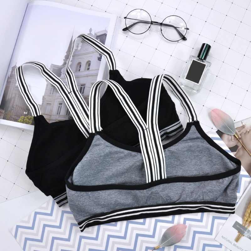 Frauen Fitness Bh Padded Wirefree Unterwäsche frauen Weiß Schwarz Gestreift Bhs Tupe Top