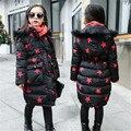 Crianças Casacos de Inverno Para Meninas Parkas Engrossar Quentes Meninas Outerwear Marca algodão Casacos De Capuz de Pele Grau-15 5 7 9 11 12 anos