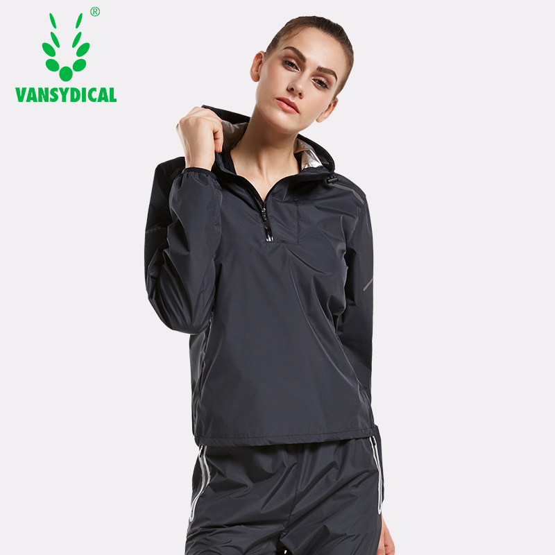 Vansydical Lose Weight Slimming Sweating Sportswear Hot Sweat Sports Running Jackets Women's Pullovers Hooded Fitness Tops