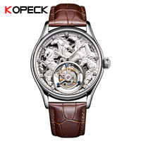 Fashion Zodiac Horse Skeleton Mechanical Watch Men's High-end Tourbillon Movement 30m Waterproof Leather Men Wrist Watches