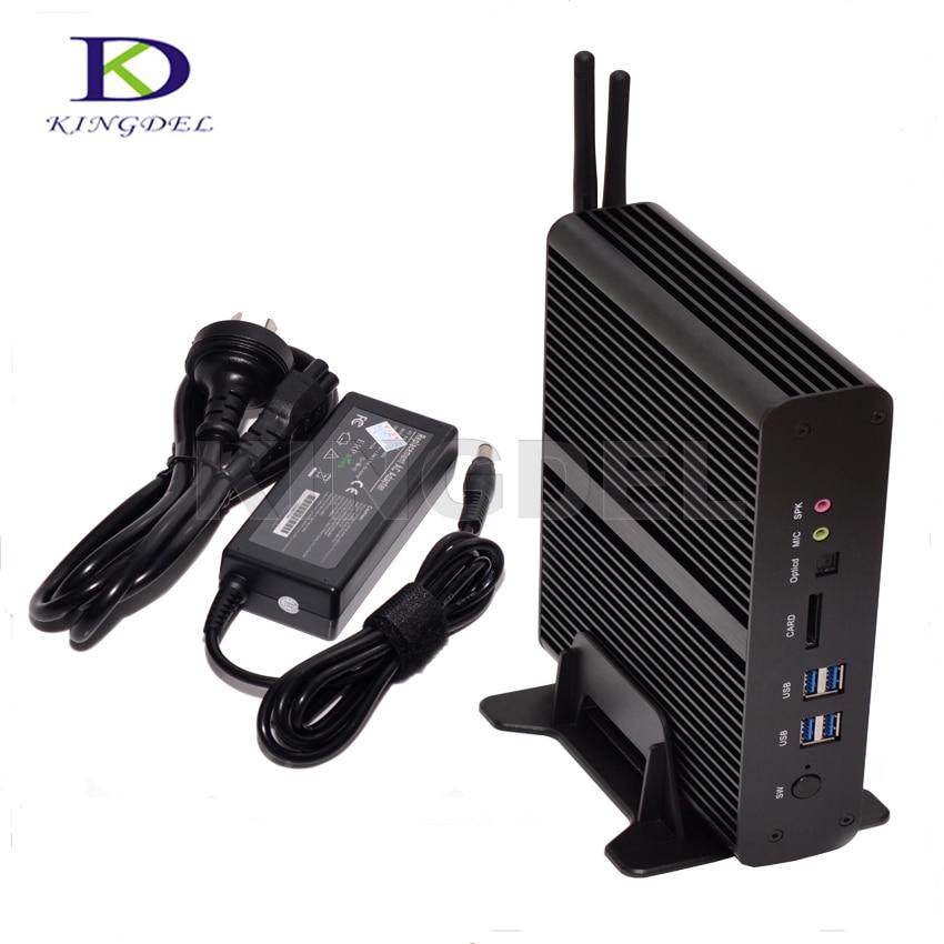 Hot Selling Broadwell Fanless Mini PC Intel Core I7 5500u Windows 10 Mini-ITX Desktop Computer HD5500 HTPC TV Box