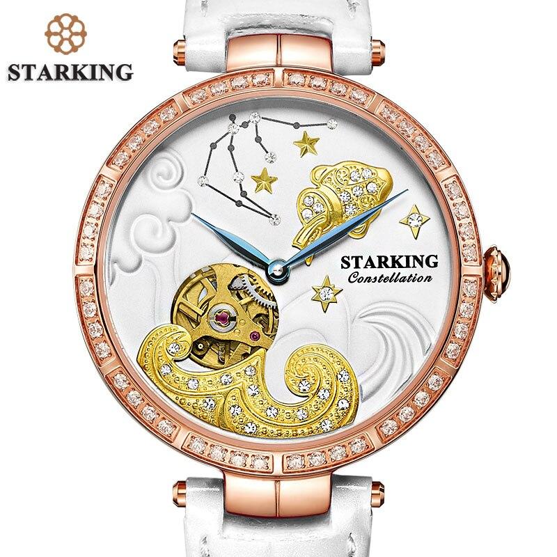 STARKING 50m Water Resistant Watch Women Aquarius Constellation Watches White Genuine Leather Ladies Watch Antique Timepieces fashionable water resistant glow in dark wrist watch black white 1 x lr626