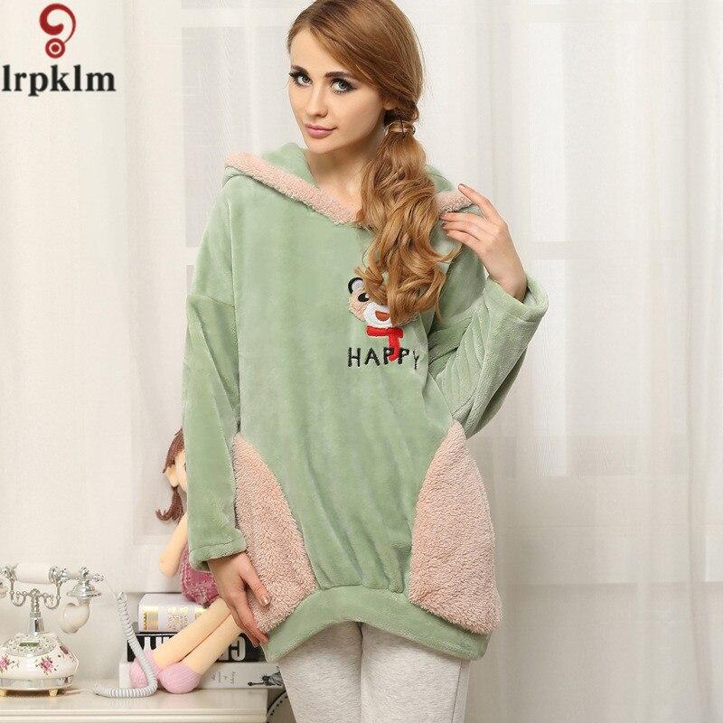 Cute Coral Fleece Womens Pajamas Sets Winter Warm Ladies Sleepwear Robe Sets Thicken Green Gray Girls Pajamas Homewear SY699