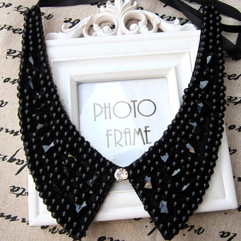 Fashion Statement  Fake Collar White & Black Tie Vintage Detachable Collar False Collar Lapel Blouse Women Clothes Accessories