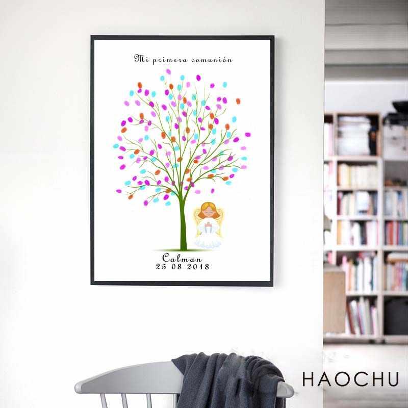 Mi Primera Comunion Signature beauty Tree DIY отпечаток пальца Гостевая книга сувенир Первое Святое Причастие сувенирный подарок для девочек Крещение