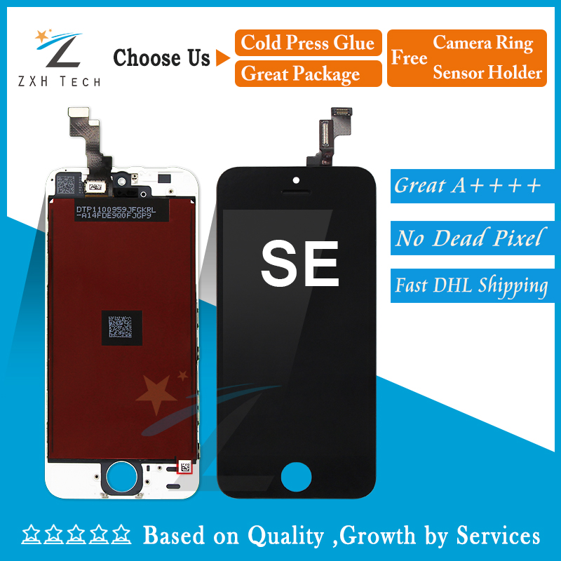 10PCS LOT Quality AAA W B for iPhone SE 5S LCD Digitizer Assembly with OEM Glass