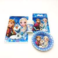 High Quality Disney Frozen Elsa Theme 73pcs Paper Cup Gift Candy Jewerly Bag Girl Birthday Party Tablecloth Decoration Supply
