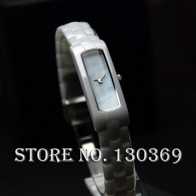 women dress watches luxury brand white ceramic ladies fashions watch Rectangle watch for women high quality quartz clock
