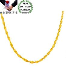 OMHXFC Wholesale European Woman Female Party Wedding Gift Long 45cm Wide 2mm Wave Real 18KT or 24KT Gold Chain Necklace NL83(China)