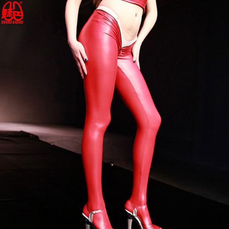 Buy Sexy Women Latex Low Waist Pencil Pants Zipper Open Crotch Matte Leggings Punk Club Dance Wear Plus Size Erotic Lingerie F60