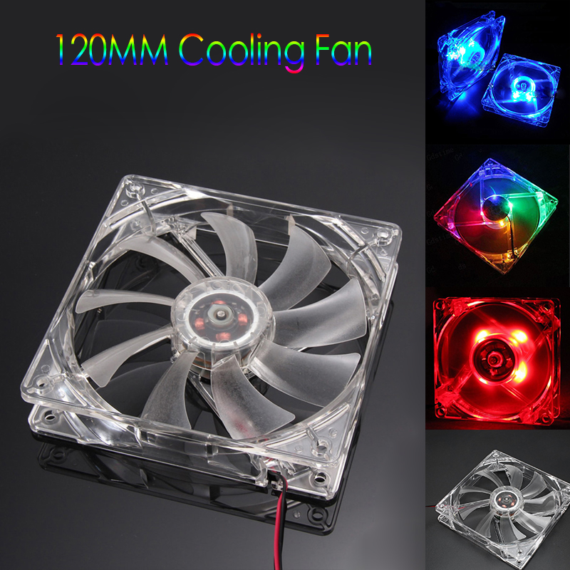Cool 12V PC Computer Fan Quad 4 LED Light 120mm PC Computer Case Cooling Fan Mod Quiet Molex Connector Easy Installed Fan gdstime 5 pcs 3pin connector 4pin led fan 12v 15 led light white for computer pc case cooling fan 120mm 120x120x25mm dc 12 volt