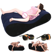 Hot 2019 Flocking Inflatable Sofa Bed Sex Toys for Couples Love Sex Chair Pillow Adult Sex Furniture SM Games Furniture Erotic inflatable sex furniture triangle sex magic pillow erotic product sex cushion sofa adult couples games stimulate sex toys