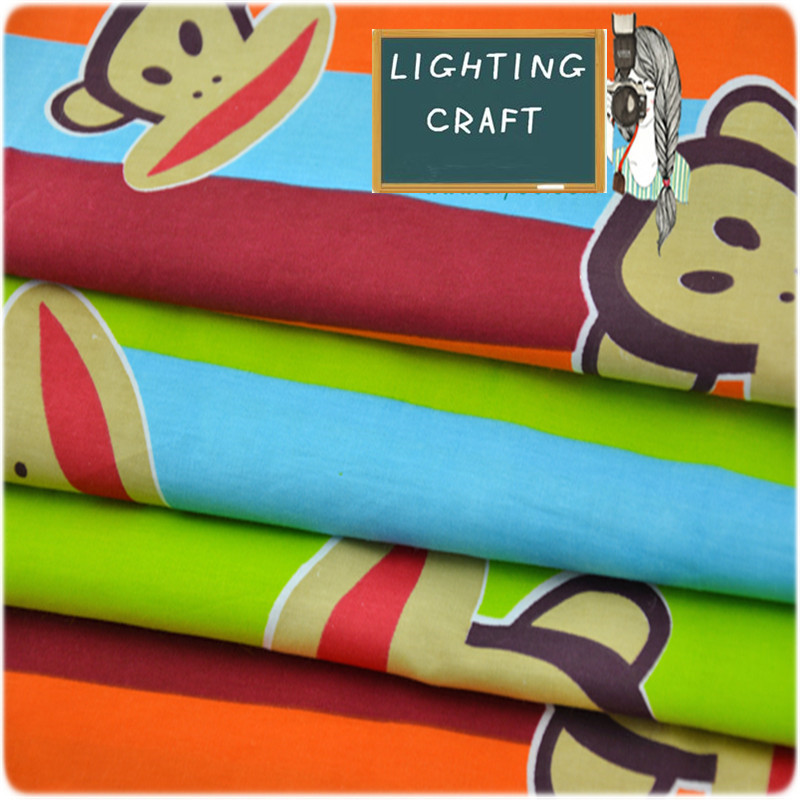 50*160cm Colorful Monkey 100% Pure Cotton Twill Fabric Used For Table Cloth/ Bed Cloth/ Picnic And All DIY Handmade Design