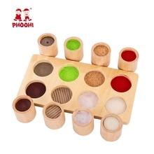 תינוק עץ מונטסורי חושי חומר צעצוע גן חינוכיים מישוש צעצוע לילדים PHOOHI
