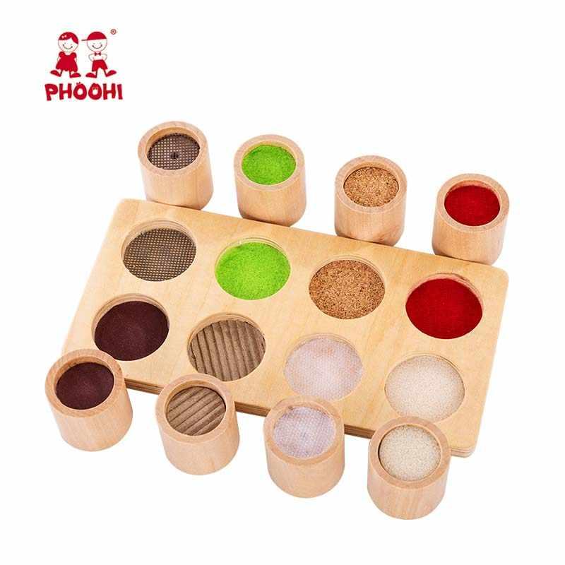 Bebê de madeira montessori sensorial material brinquedo crianças pré-escolar brinquedo tátil educacional para crianças phoohi
