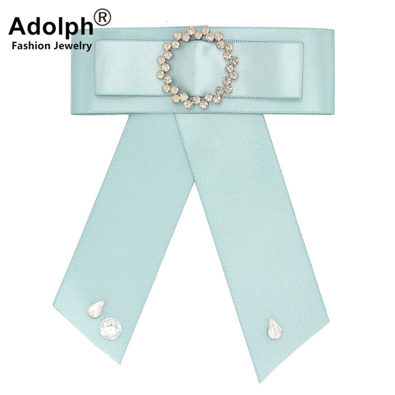 ADOLPH Punk Bow Simple Round Crystal Brooch Pins Woman Jewelry Clothers Handmade Bride Broochs Fashion Accessories Female New