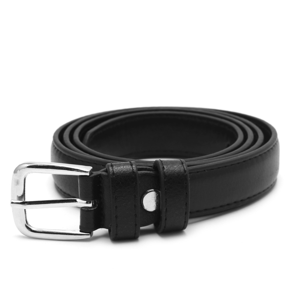 2941e7242 1 PC Black Faux Leather Female Woman Antique Belt Metal Buckle Jeans Strap Belt  Alloy Buckles