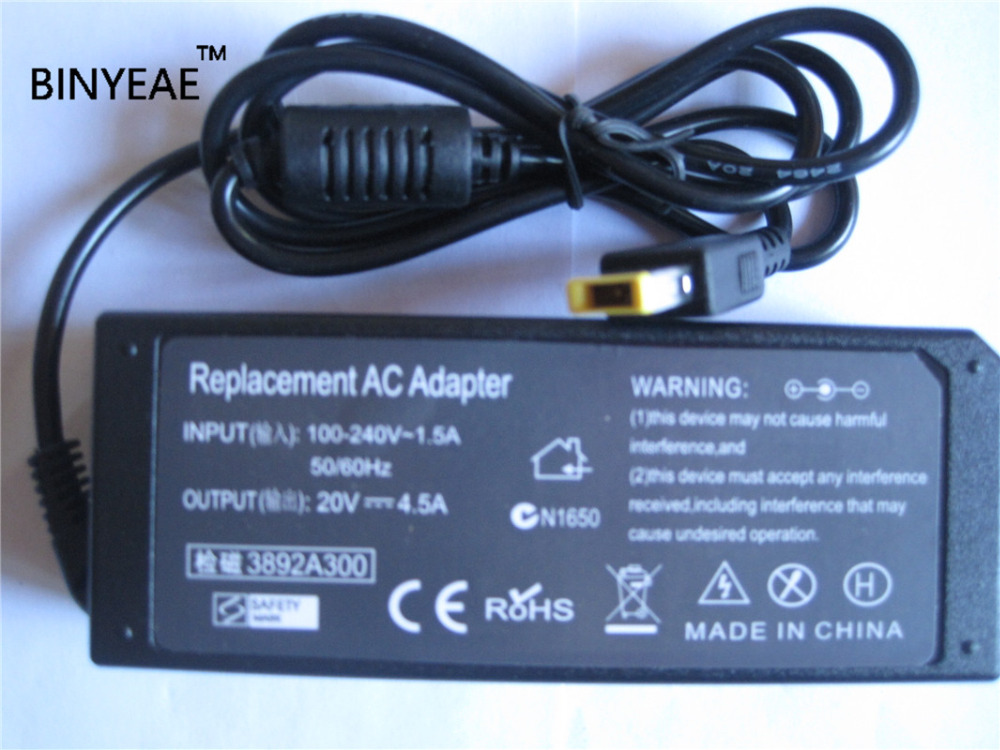 20V 4.5A 90W AC Laptop Power Charger Adapter For Lenovo Thinkpad L440 T540P Y40 Y50 Z40 Z50 E540 K2450 20v 3 25a 4 5a 90w squre usb ac power supply adapter for lenovo thinkpad laptop charger