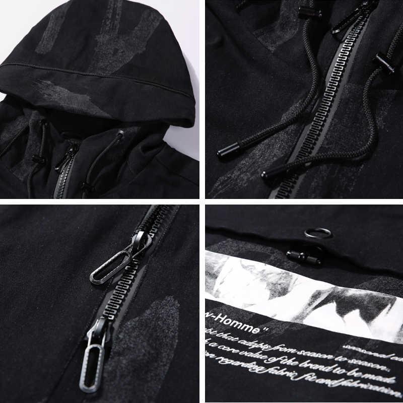 BOSIBIO 新メンズジャケットとコート 2019 春秋黒デニムジャケット男性プリント長袖フード付きジッパーコートホット 2719