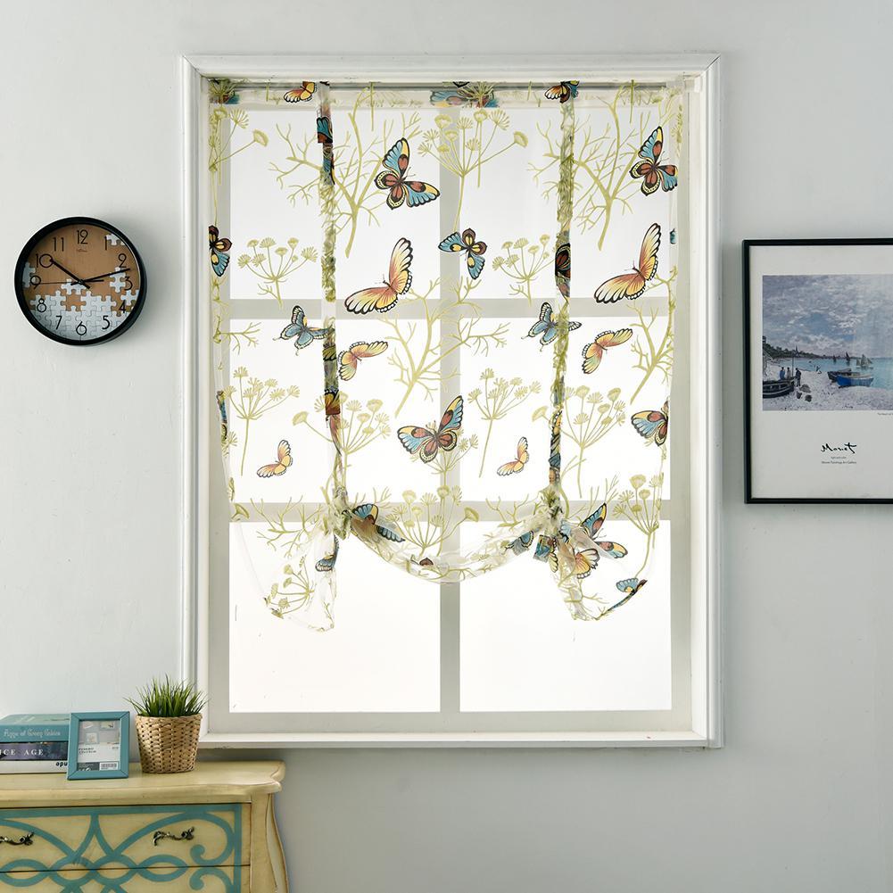 Adeeing Butterfly Pattern Short Sheer Curtains Roman