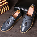 Fashion Popular Metal Tassels Men's Oxfords Shoes Round Toe Carved Slip On Style Flat Heel Young Man Casual Shoes