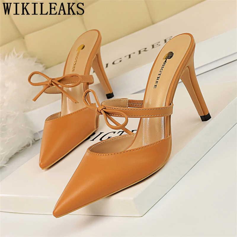Di san valentino scarpe delle signore pompe nero tacchi muli scarpe da donna eleganti tacchi pattini di vestito delle donne punta a punta alta tacchi a spillo sexy