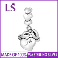 LS 925 Sterling Silver Family Hands Together Heart Wedding Charm Bead Fit DIY Bracelet Necklace Jewelry