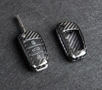 1pcs Genuine Carbon Fiber Car Auto Remote Key Case Cover Fob Holder Skin Shell For AUDI