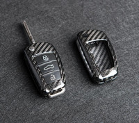 1pcs Genuine Carbon Fiber Car Auto Remote Key Case Cover fob Holder Skin Shell for AUDI A6 TT A3 Q3 A1 A4 Q7 S3 Car styling